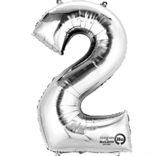 Number 2 Silver Mini Air-Fill Foil Balloon